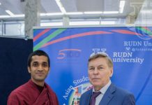 RUDN President of Asian students Thero with the RUDN University Rector Vladimir V. Filippov